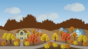 Village autumn landscape scene. Cartoon background with town houses, hills and colorful trees, can be used in game asset. Flat style vector illustration stock illustration