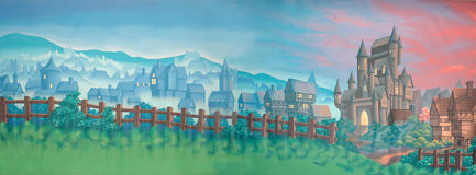 Village backdrop. Painted backdrop of medieval village and castle Royalty Free Stock Images