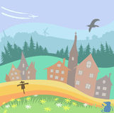 Village vector picture. Background with landscape, houses, forest and fields Royalty Free Stock Photo