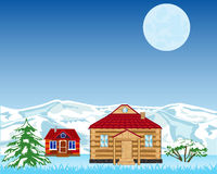 Village on background of the snow mountains Royalty Free Stock Image