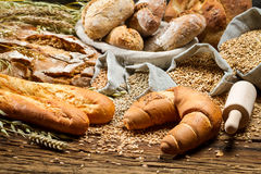 Village baker pantry with all kinds of breads Stock Photo