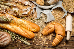 In village baker pantry with all kinds of breads Royalty Free Stock Images