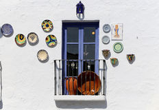 Village balconies in Frigiliana-- is one of beautiful white towns in the province of Malaga, Andalusia, Spain Stock Photos