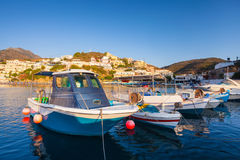 Village Bali, Island Crete, Greece, - June 24, 2016: Beautiful morning scenery with mountains, bay of Mediterranean sea and a pier Royalty Free Stock Photos