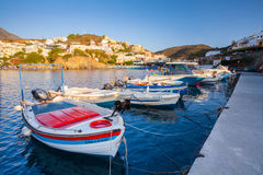 Village Bali, Island Crete, Greece, - June 24, 2016: Beautiful morning scenery with mountains, bay of Mediterranean sea and a pier Royalty Free Stock Images