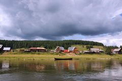 Village on the banks of the river Chusovaya Stock Image