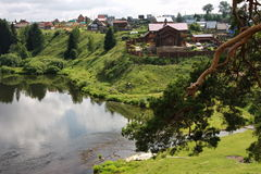 Village on the banks of the river Chusovaya Stock Images