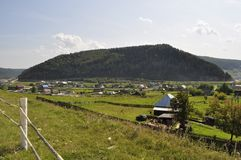 Village on the banks of the River Yuryuzan Stock Image