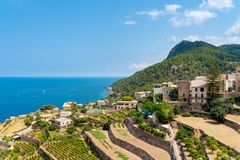 Village of Banyalbufar on balearic island of Mallorca. Spain on beautiful summer day against blue sea and clear sky Stock Image