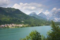 Village on Barcis lake Stock Photo
