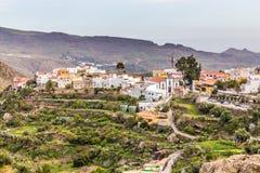 Village In Barranco de Fataga-Gran Canaria, Spain. Village Located In Barranco de Fataga Valley - Gran Canaria, Canary Islands, Spain stock photo