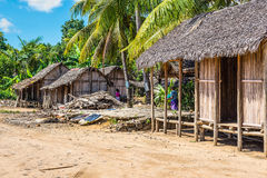 Village on the beach in Madagascar Royalty Free Stock Images