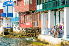 Village and beach scene, Mykonos royalty free stock images