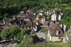 The village of Belcastel stock image
