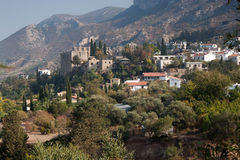 Village and Bellapais abbey near Kyrenia (Girne). Stock Image