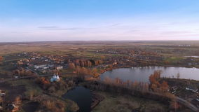 Village With a Bird's-eye view in Autumn stock video