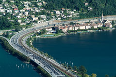 The village of Bissone on lake Lugano Stock Images
