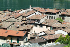 The village of Bissone on lake Lugano Stock Photos