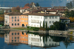 The village of Bissone on lake Lugano Royalty Free Stock Image