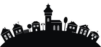 Village, black silhouette Royalty Free Stock Image