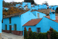 Village with blue houses Royalty Free Stock Photos