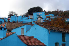 Village with blue houses Royalty Free Stock Image