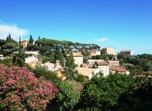 The village of Bormes-les-Mimosas on the Cote d'Azur Stock Photography