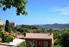 The village of Bormes-les-Mimosas on the Cote d'Azur Stock Images