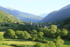 Village of Broto in river Ara, pyrenees Stock Photo