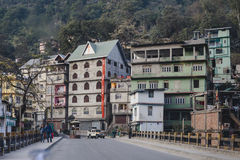 Village buildings in the city in the sideway near Bagdogra. Darjeeling, India. Village buildings in the city in the sideway near Bagdogra. Darjeeling, India stock images
