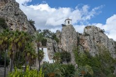 Historic village on rocks - Guadalest, Spain stock photos
