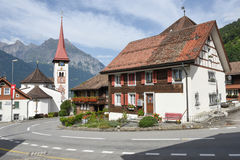 The village of Burglen on the Swiss alps. Burglen, Switzerland - 3 August 2017: the village of Burglen on canton Uri in the Swiss alps Royalty Free Stock Photos