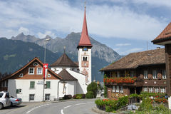 The village of Burglen on the Swiss alps. Burglen, Switzerland - 3 August 2017: the village of Burglen on canton Uri in the Swiss alps Stock Image