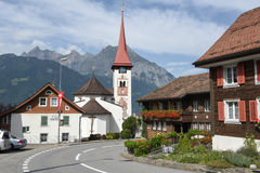 The village of Burglen on the Swiss alps. Burglen, Switzerland - 3 August 2017: the village of Burglen on canton Uri in the Swiss alps Royalty Free Stock Image