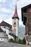 The village of Burglen on the Swiss alps. Burglen, Switzerland - 3 August 2017: the village of Burglen on canton Uri in the Swiss alps Royalty Free Stock Photography