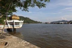 Village célèbre de l'eau au Brunei Bornéo image stock