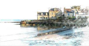 Village côtier de Britton illustration stock