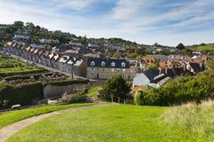 Village côtier anglais BRITANNIQUE de Devon England de bière sur la côte jurassique photos libres de droits