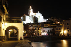 Village of Cadaques at night, Catalonia, Spain Royalty Free Stock Images