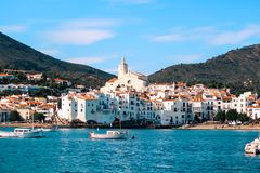 The village of Cadaques with white houses stock photos