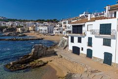 Village Calella de Palafrugell Costa Brava, Spain in wintertime.  stock photo