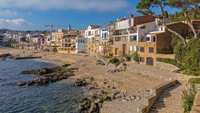 Village Calella de Palafrugell Costa Brava, Spain in wintertime.  Royalty Free Stock Photos