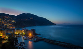 The village of Camogli, Italy, at sunset Stock Images