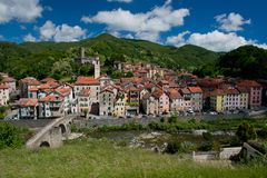 The Village of Campo Ligure. Panorama of the village of Campo Ligure, part of the association of the most beautiful italian villages. Situated in Liguria royalty free stock photo