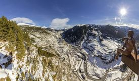 Village of Canillo panoramic view from observation deck. In Roc Del Quer trekking trail. Principality of Andorra Stock Photography