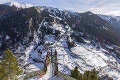 Village of Canillo view from observation deck, in Roc Del Quer. Andorra. Village of Canillo view from observation deck, in Roc Del Quer trekking trail Royalty Free Stock Photography