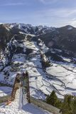 Village of Canillo view from observation deck, in Roc Del Quer. Andorra. Village of Canillo view from observation deck, in Roc Del Quer trekking trail Royalty Free Stock Photos