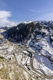 Village of Canillo view from observation deck, in Roc Del Quer. Andorra. Village of Canillo view from observation deck, in Roc Del Quer trekking trail Stock Photo