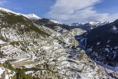 Village of Canillo view from observation deck, in Roc Del Quer. Andorra. Village of Canillo view from observation deck, in Roc Del Quer trekking trail Royalty Free Stock Image