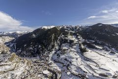 Village of Canillo view from observation deck, in Roc Del Quer trekking trail. Principality of Andorra Royalty Free Stock Images